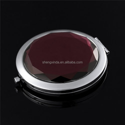 2015 best selling high quality wedding favor decorative acrylic metal round mirror pocket makeup mirror