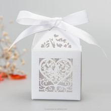 Laser Cut individual white pearl paper Birdcage gift box