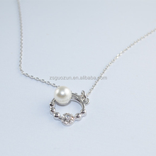 Latest design compact silver necklace/pendent necklace/necklet/collars/neck ring with freshwater pearl and crystal