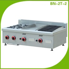 Mutifunctional cooking equipment Counter top gas range with griddle and lava rock grill