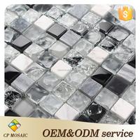 easy design black and white broken cracked glass mosaic tiles