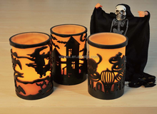 """Creepy Halloween Decor Double-layer 4""""by 6"""" Amber LED Flameless Wax Candle With """"Witch""""""""Pumpkin""""Carved"""