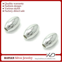 XD P023 Ellipse 925 Sterling Silver Beads Bulk to Make DIY Jewelry