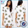 Yihao Trade Assurance 2015 Latest dress designs fashion dress Fist print short sleeve t shirt girl dress
