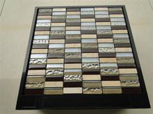 Brick glass tiles blend marble mosaic tiles for wall bath room
