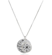 wholesale Go in the direction of your dream message with compass pendant necklace,hand stamped jewelry