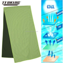 wholesale 100% polyester fabric knitted green double sided towel