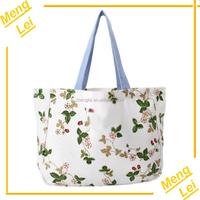 2015 flower design women canvas promotional reusable shopping bag
