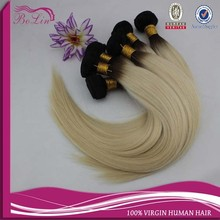 dropshipping 2015 Hot sell hair product! Wholesale full cuticle colored two tone virgin brazilian ombre hair weave