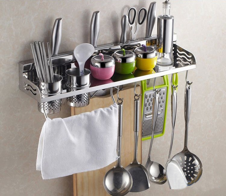 Buy Free shipping 60cm Multi-function Storage Rack Knife Chopping Block Holder including a hanging rod and 5 hooks 7160 cheap