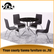 Factory directly sales cheap price black round glass dining table with four chairs designs and six chairs,dinning table set