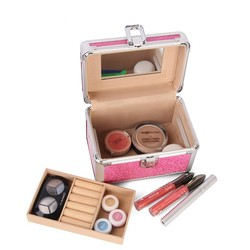 Dazzling pink aluminum makup organizer makeup brush set case VC-0443