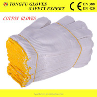 7/10 gauge bleached white PVC dotted cotton gloves driving farming useful working idustrial glove
