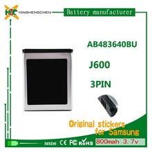 AB483640BU dry rechargeable battery forJ600 S8300, 3.7v 800mah li-ion battery