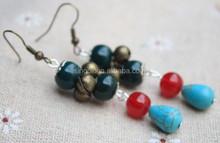 boho style ceramic beads handmade cute small bell earring