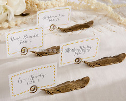 """""""Gilded Gold"""" Feather Place Card Holders"""