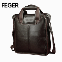 Drop shipping FEGER classic mens cow leather business handbag
