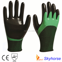 Polyester+Spandex Shell Nitrile Coated Safety Work Gloves, oil resistant working glove safeti