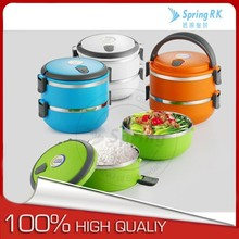 Best selling 4 colors 2 layers tiffin carrier plastic/stainless steel lunch box with lock