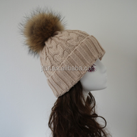 Beige Cable Knitted Beanies For Girls Custom Winter Hats With Raccoon Pom Poms
