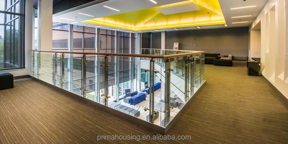 interior barandas de vidrio de acero inoxidable con pasamanos de madera