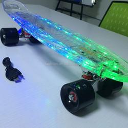 Led penny skateboard/ Electric nickel cruisers complete skateboard/ Led plastic penny style mini skate board