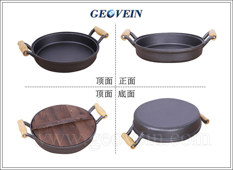 Cookware For Outdoor Bbq Cast Iron Pan With Wooden Handle ...