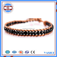 2015 best selling wholesale fashion new genuine leather&crystal bracelet