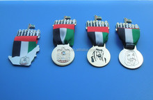 Four Different UAE Metal Ribbon Medals, Union Seven Sheikhs, UAE Map And Falcon