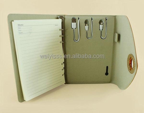 fabrik exquisites design a5 ledernes notizbuch ringbuch power bank notebook produkt id. Black Bedroom Furniture Sets. Home Design Ideas