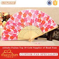 Customise fabric folding hand held fan