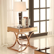 charming luxury simple gold metal leg living room/lobby mirrored console/side/phone table
