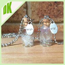 ~~ Make A Wish Glass Bead Orb Dandelion Seed Transparent Round Beadwork Dandelion Necklace tube mini glass terrarium necklace