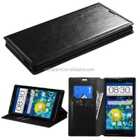 For ZTE Grand X Max Z787 leather flip stand case cover black
