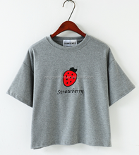 2015 New Fashion Cute Emborid Strawberry T-Shirt For Girls Cartoom Top Tees