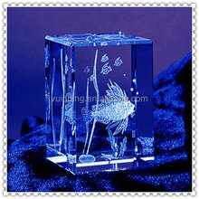 3D Laser Etch Crystal Block With Sea Animals Inside