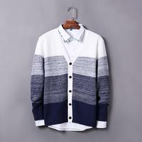 2015 men's cardigan sweater, Wholesale Autumn men clothes fashion slim patchwork men sweater