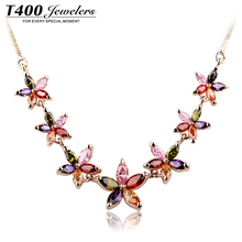 T400 fashion jewelry environment alloy necklace with swarovski element