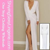 wholesale 2015 hot sexy white long sleeve V neck floor length jersey dress