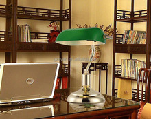 Industrial Vintage retro Brass Metal Base Banker Table Lamp Emerald Green Glass Chian Pull Switch Desk Lamp