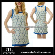 Capos azules Lace Dress Shift Encaje Vestido suelto HF139