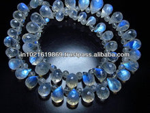 16 inches gorgeous rainbow moonstone neckless feceted tear drops briolet with smooth round beads size 5x3 -6 x9 MM 51pcs