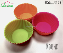 Round shape colorful silicone cup cake mold bpa and toxic free