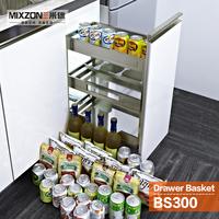 Kitchen Basket OEM Factory Pull Out Storage Drawer Three Tier Spice Bottle Rack Kitchen Cabinet Sliding Basket MIXZONE BS300