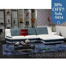 comfortable popular fashion blue leather sofa