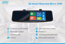 Jimi 3g andriod wifi rearview mirror gps with car reverse parking camera
