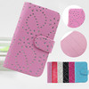 bling snowflake flower leather flip case for lenovo a680
