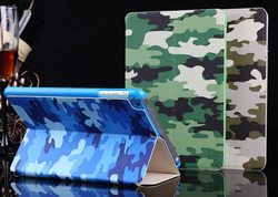 Soft Leather Cover Camouflage Smart Case for iPad Air With Stand Function