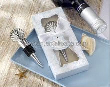 "wedding favor--""Sea Shell"" Wine Bottle Stopper in black gift box"