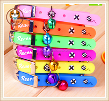 new environmental protection material candy color PVC soft rubber collar Super soft with bells For small dogs